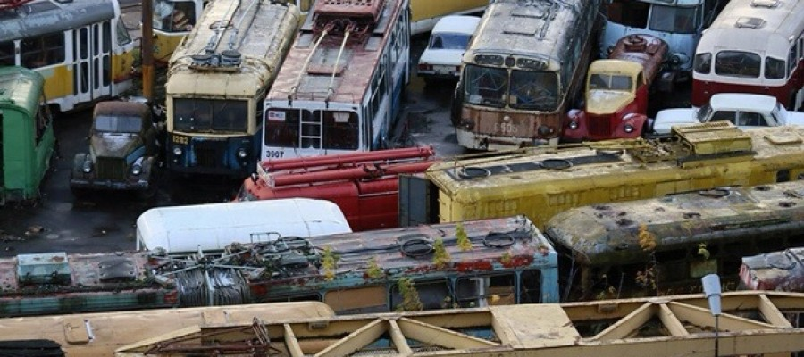 The urban transport graveyard in Moscow