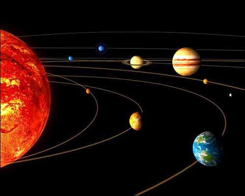 'An artist rendition released by the European Space Agency shows the main bodies of the solar system, the Sun, Mercury, Venus, the Earth, from left in foreground, Uranus, Neptune, Saturn, Jupiter and Mars, from left in background. The Moon, the Earth's natural satellite, is seen at right in foreground, as the relative size of the orbits of the planets is not respected.' Photo: AP
