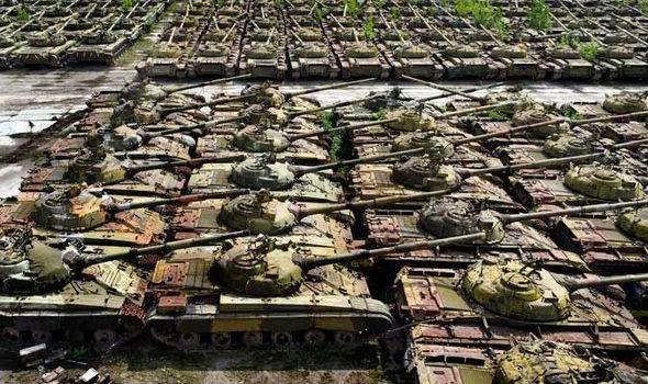 Row upon row of Soviet tanks