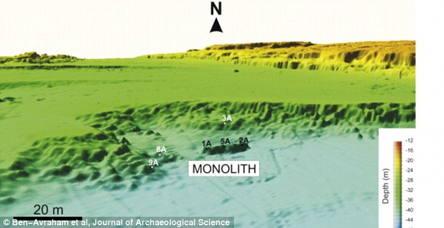 The archaeological site has been surveyed using geophysical and geological methods. This 3D map shows how the monolith is elevated in the Mediterranean Sea