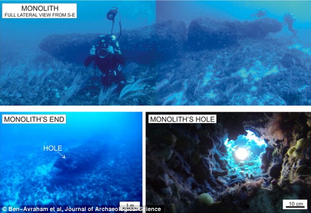 A mysterious underwater monolith has been discovered 37 miles (60km) off the coast of Sicily. Broken into two parts (top image), the rock has three holes (shown bottom right and left) that experts say could not have formed naturally and the structure is thought to have been crafted 10,000 years ago