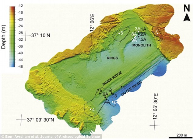 The discovery of the monolith suggests a prehistoric civilisation thrived on the island and ancient people may have colonised others nearby. This map shows the sea floor near the monolith