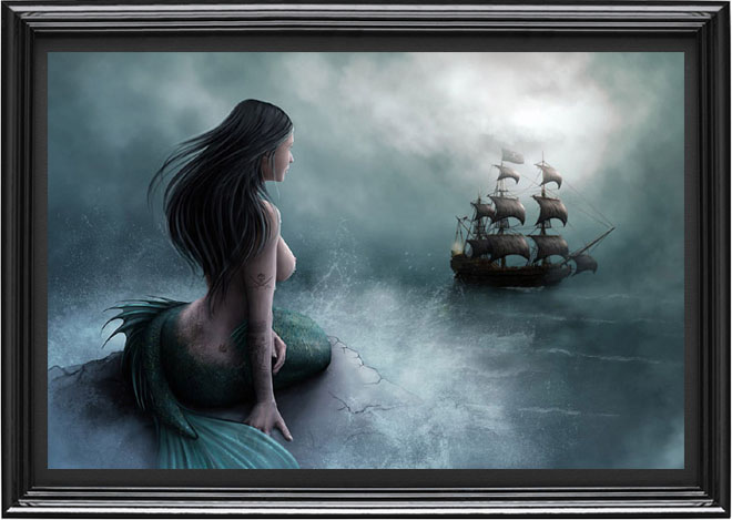 Mermaid and flying dutchman ghost ship